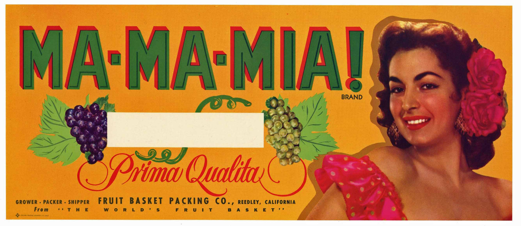 Ma-Ma-Mia Brand Vintage Reedley Grape Crate Label