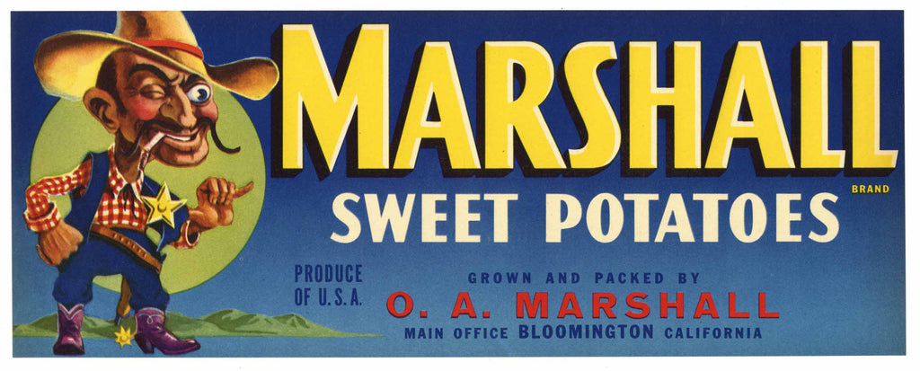 Marshall Brand Vintage Sweet Potato Crate Label