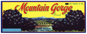 Mountain Gorge Brand Vintage Oakley Grape Crate Label