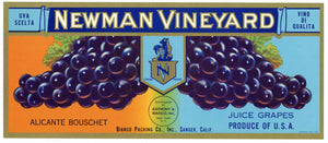 Newman Vineyard Brand Vintage Wine Grape Crate Label