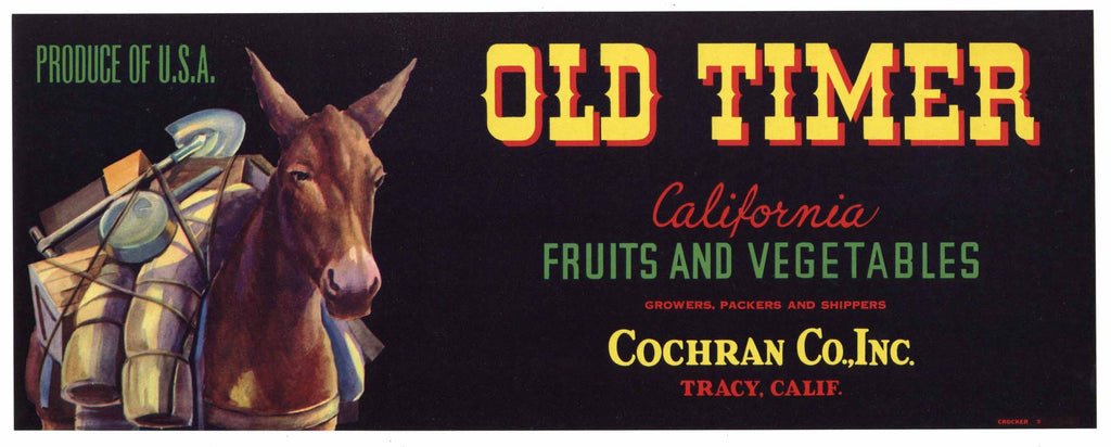 Old Timer Brand Vintage Tracy Vegetable Crate Label