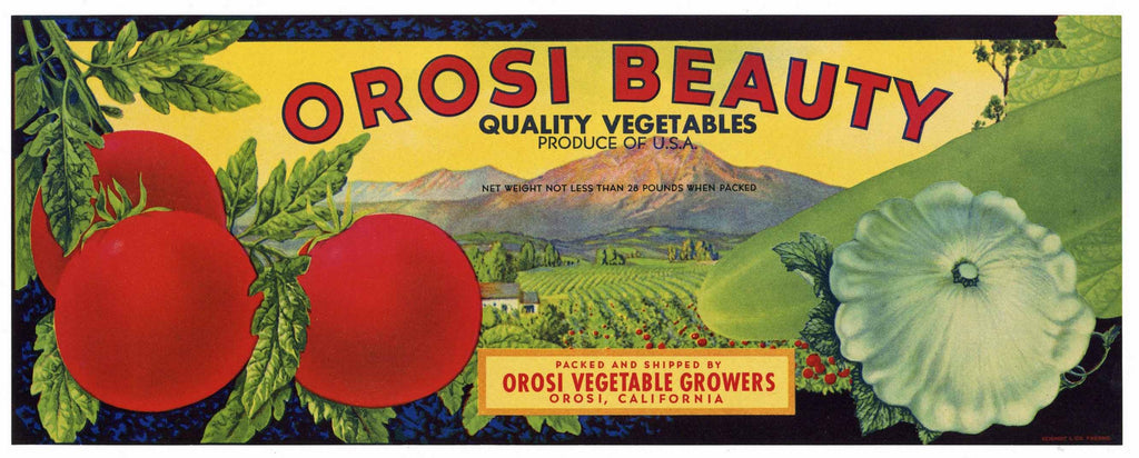 Orosi Beauty Brand Vintage Vegetable Crate Label