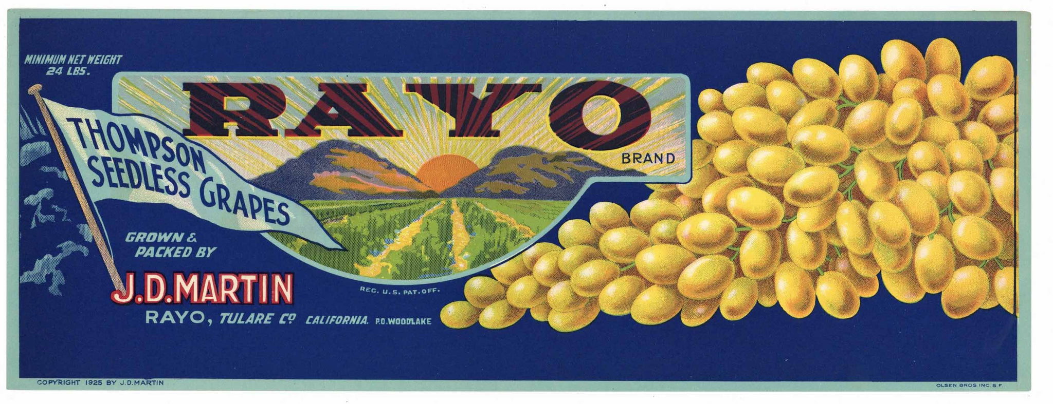 Rayo Brand Vintage Tulare County Thompson Seedless Grape Crate Label