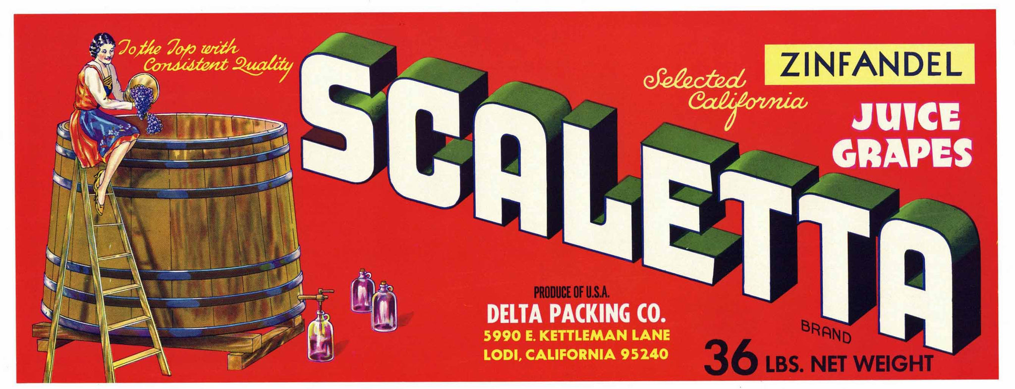 Scaletta Brand Vintage Lodi Zinfandel Grape Crate Label