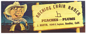 Rocking Chair Ranch Brand Vintage Reedley Fruit Crate Label