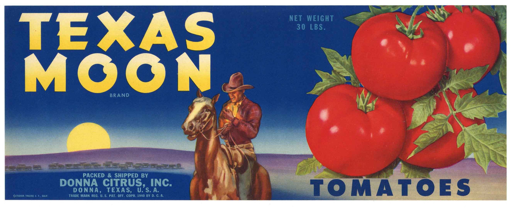 Texas Moon Brand Vintage Donna Texas Tomato Crate Label