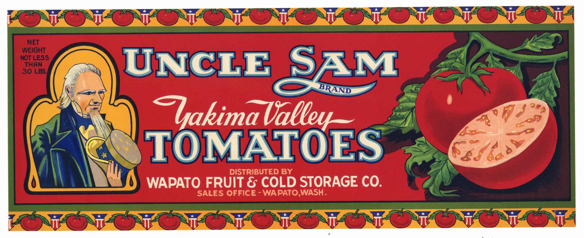 Uncle Sam Brand Vintage Washington Tomato Crate Label