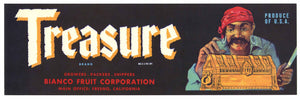 Treasure Brand Vintage Fresno Fruit Crate Label