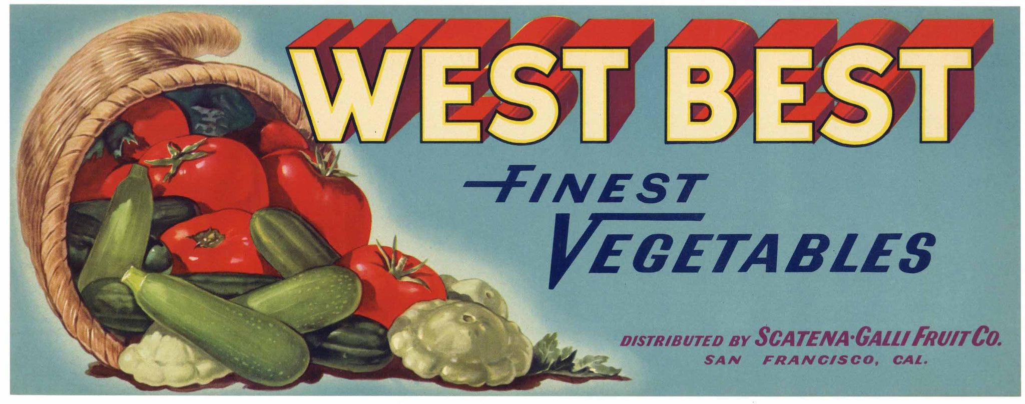 West Best Brand Vintage Vegetable Crate Label
