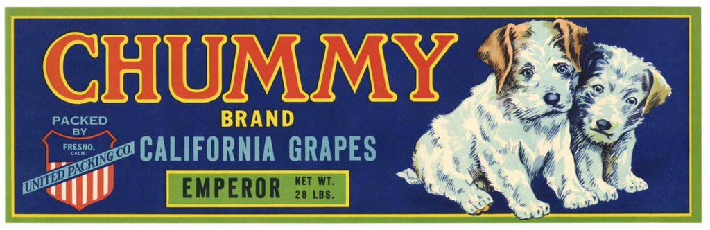Chummy Brand Vintage Fresno Grape Crate Label
