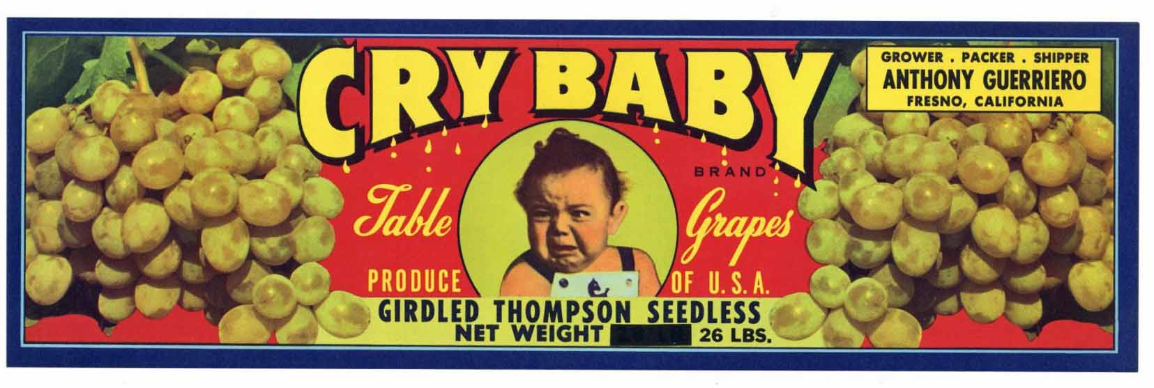 CRY BABY Brand Vintage Grape Crate Label (LL1070)