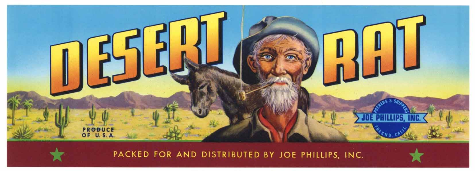 DESERT RAT Brand Vintage Fruit Crate Label (LL1075)