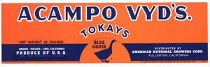 Acampo Vyd's Brand Vintage Lodi Tokay Grape Crate Label