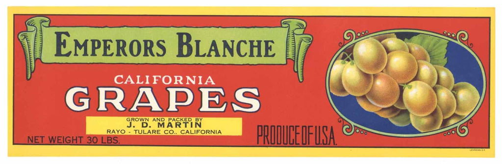 Emperors Blanche Vintage Grape Crate Label