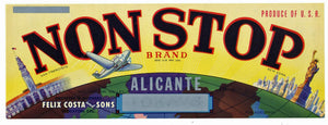 Non Stop Brand Vintage Stockton Grape Crate Label