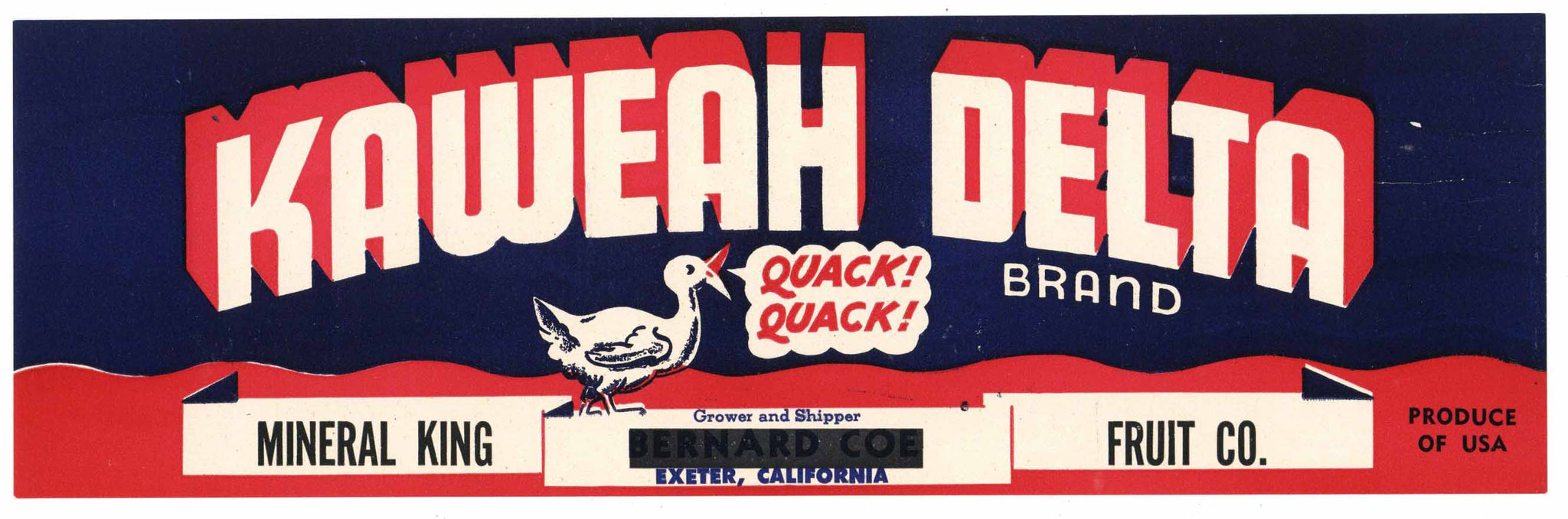 Kaweah Delta Brand Vintage Exeter Fruit Crate Label