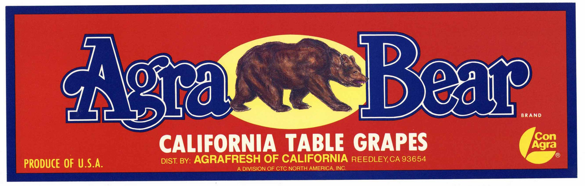 Agra Bear Brand Vintage Reedley Grape Crate Label