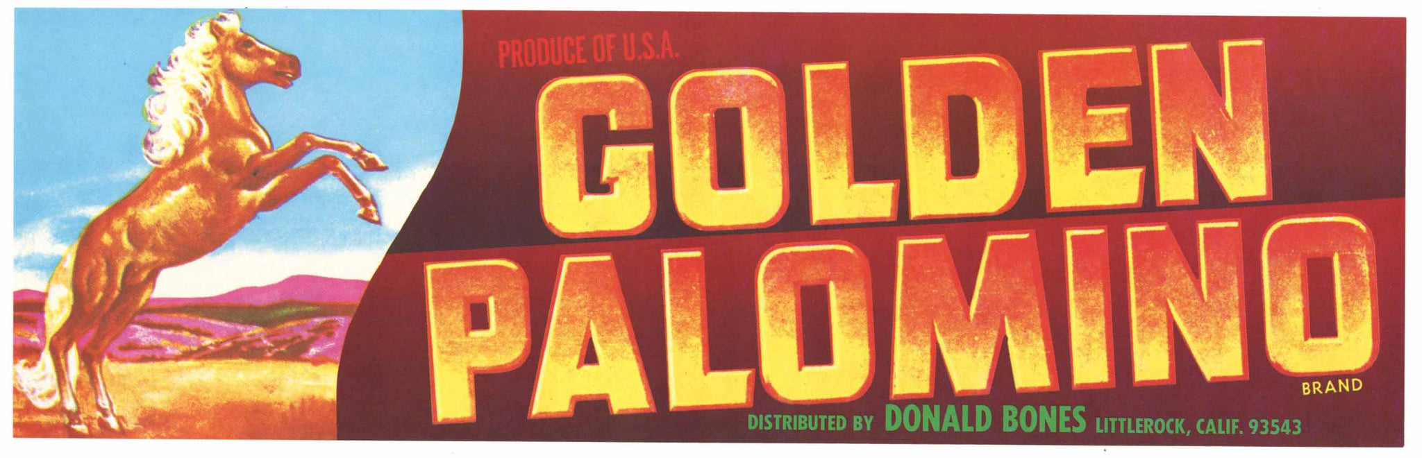 Golden Palomino Vintage Littlerock Fruit Crate Label