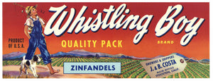 Whistling Boy Brand Vintage Zinfandel Wine Grape Crate Label