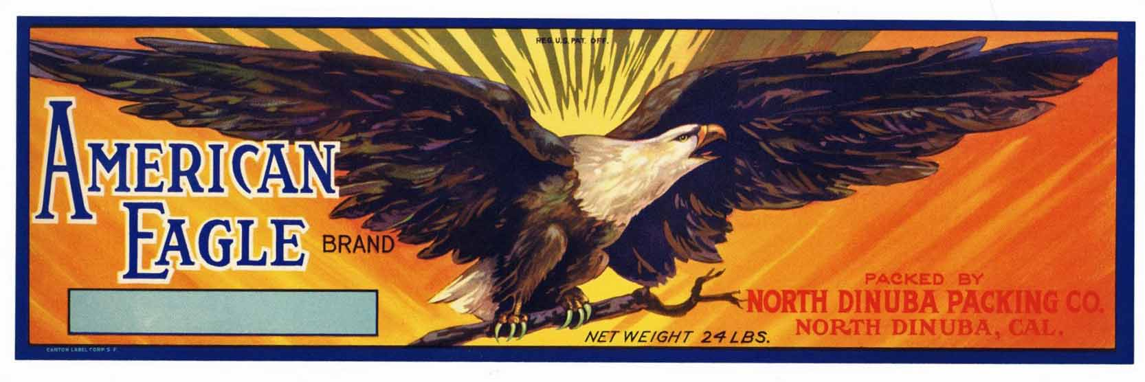 AMERICAN EAGLE Brand Vintage Fruit Crate Label, (LL112)