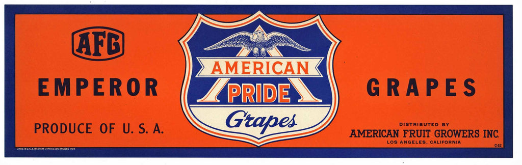 American Pride Brand Vintage Grape Crate Label
