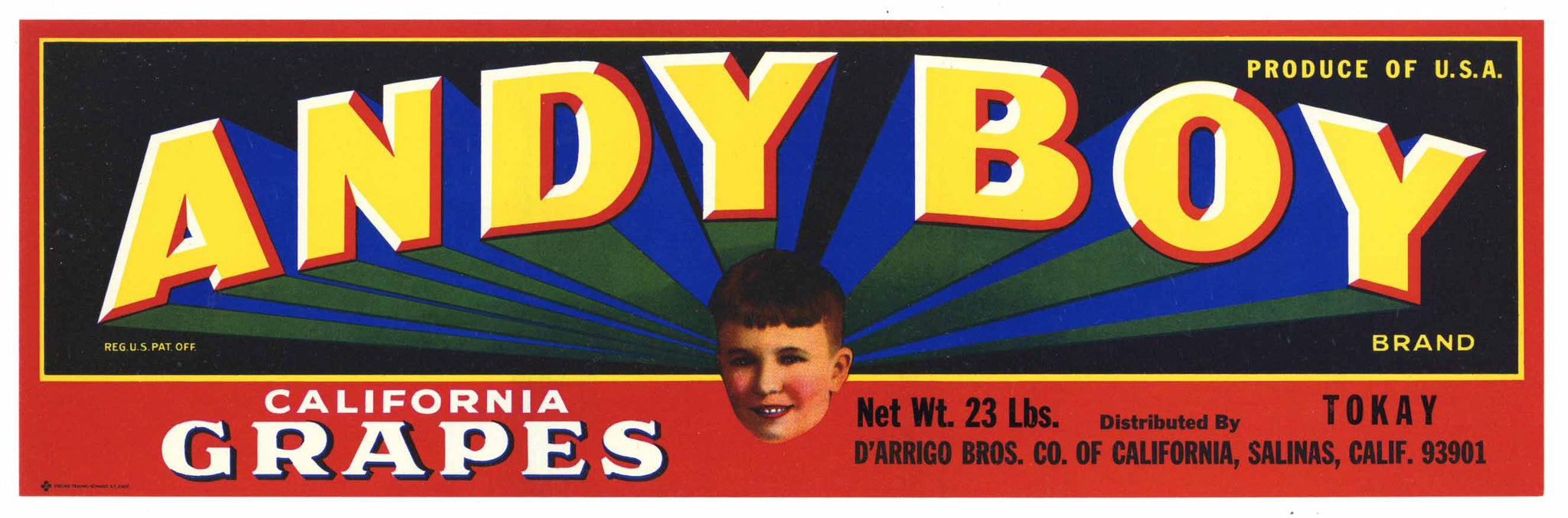 Andy Boy Brand Vintage Tokay Grape Crate Label