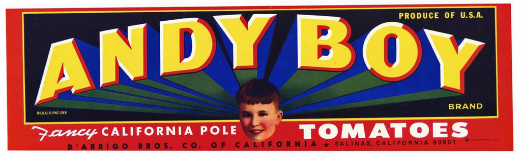 Andy Boy Brand Vintage Salinas Tomato Crate Label