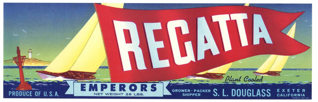 Regatta Brand Vintage Exeter Grape Crate Label