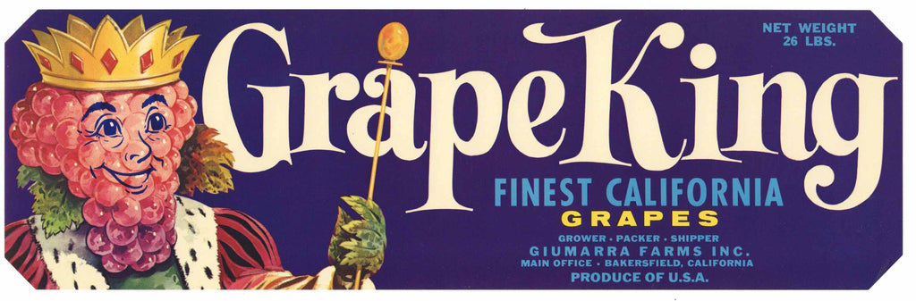 Grape King Brand Vintage Bakersfield Grape Crate Label
