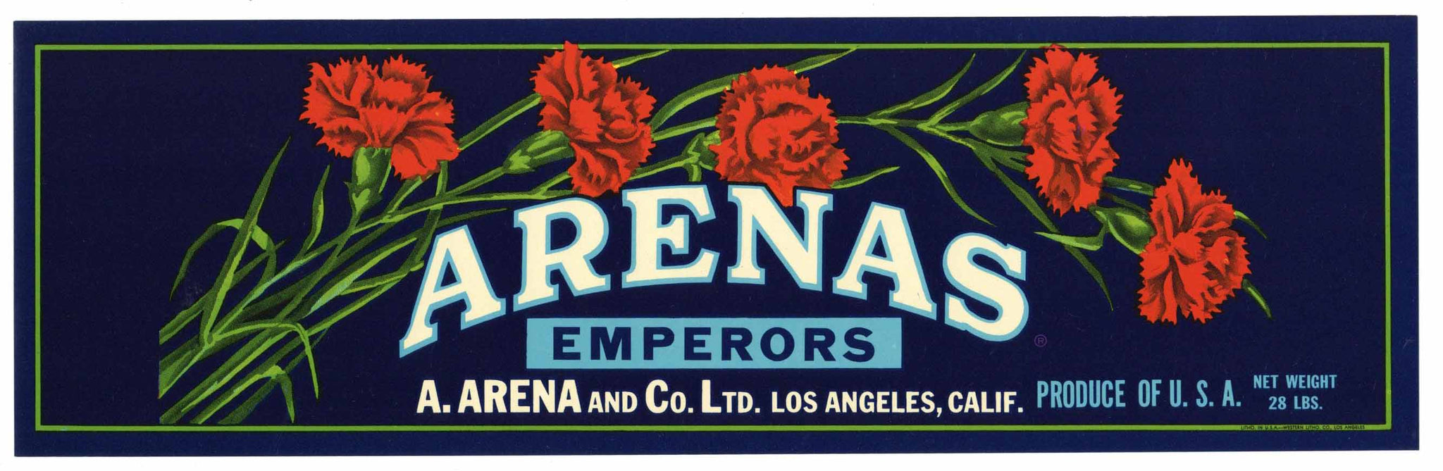 Arenas Brand Vintage Grape Crate Label