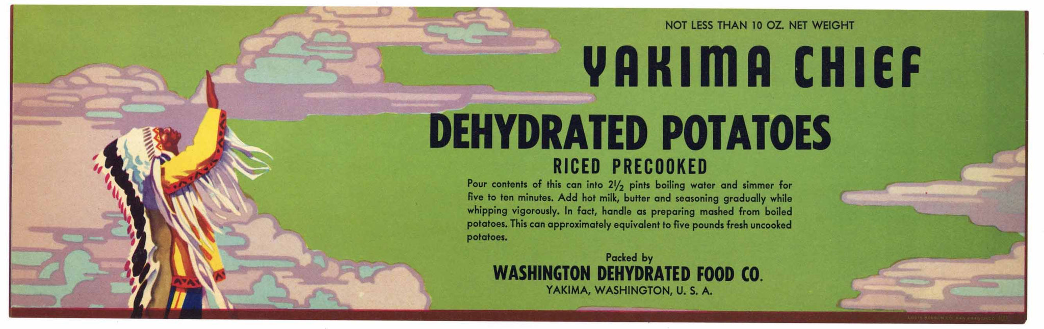 Yakima Chief Brand Vintage Washington Potato Can Label