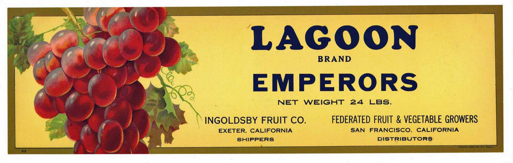 Lagoon Brand Vintage Grape Crate Label