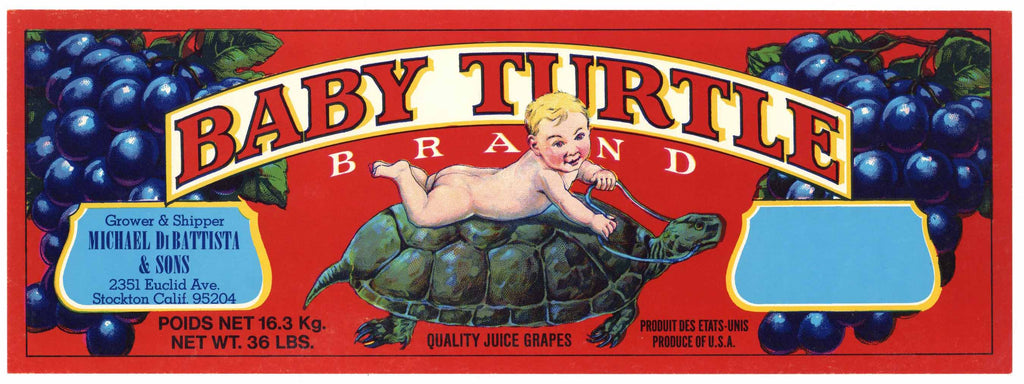 Baby Turtle Brand Vintage Wine Grape Crate Label