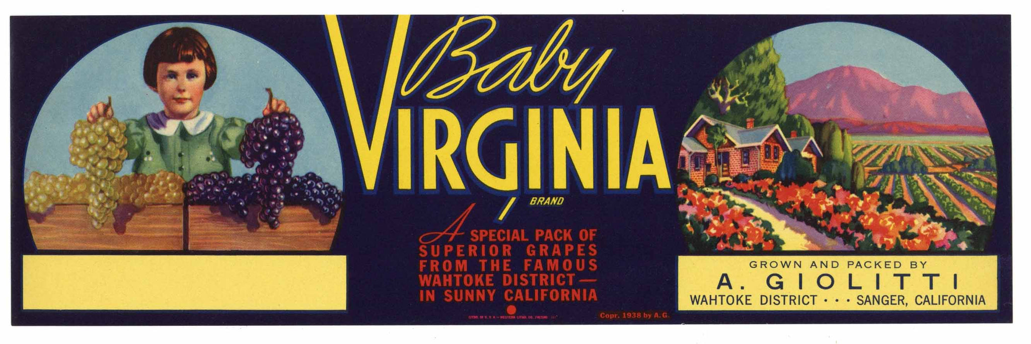 Baby Virginia Brand Vintage Sanger Grape Crate Label