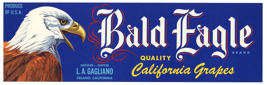 Bald Eagle Brand Vintage Delano Grape Crate Label