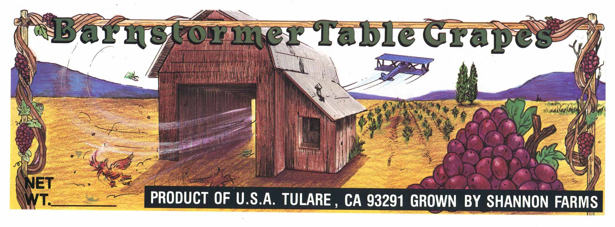 Barn Stormer Brand Vintage Grape Crate Label