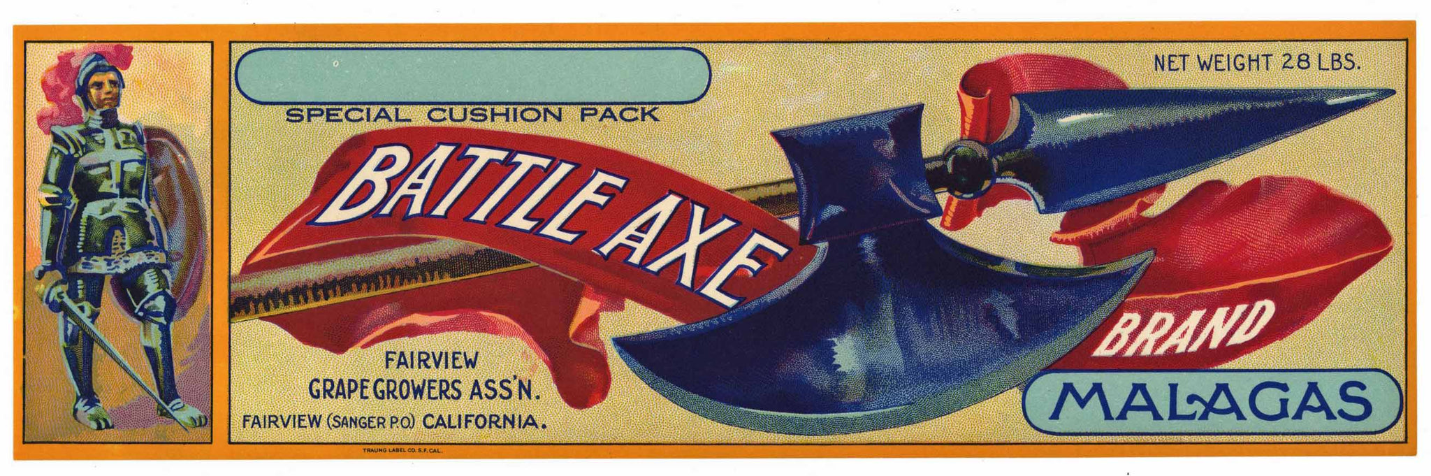 Battle Axe Brand Vintage Sanger Grape Crate Label