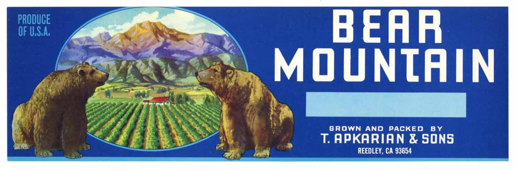 Bear Mountain Brand Reedly Vintage Fruit Crate Label