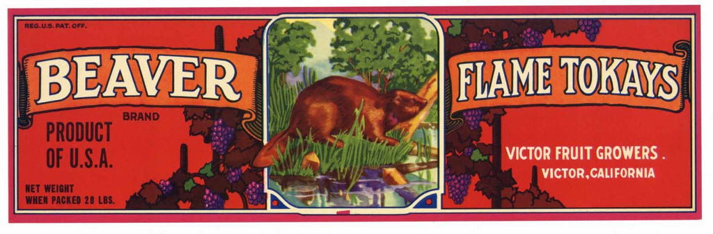 Beaver Brand Vintage Grape Crate Label