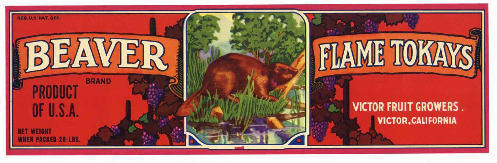 BEAVER Brand Vintage Grape Crate Label (LL138)