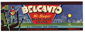 Belcanto Brand Vintage Grape Crate Label