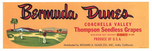 BERMUDA DUNES Brand Vintage Grape Crate Label (LL142)