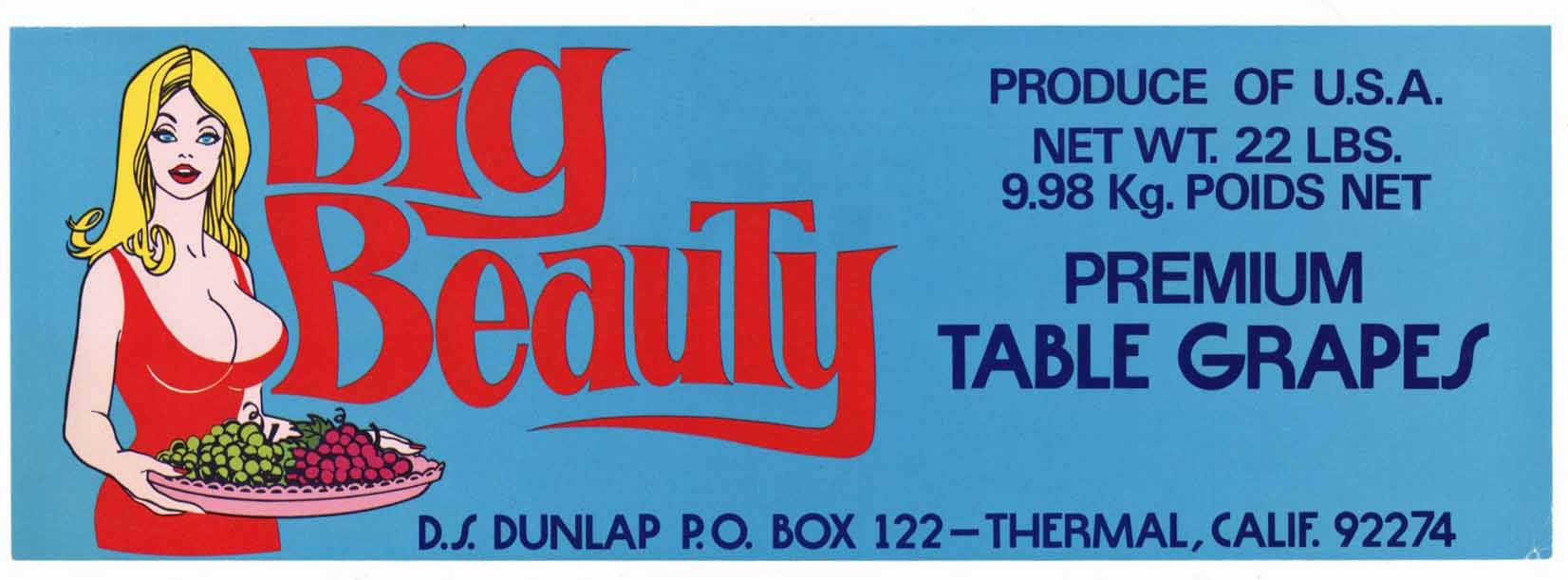BIG BEAUTY Brand Vintage Grape Crate Label (LL143)