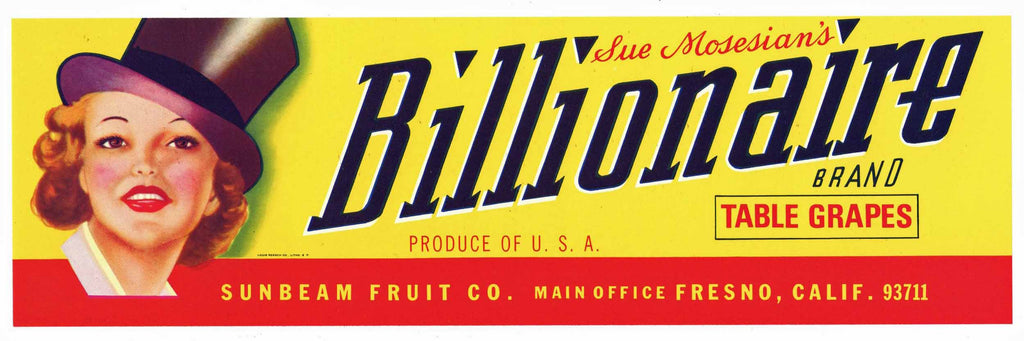 Billionaire Brand Vintage Fresno Grape Crate Label
