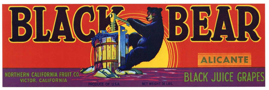 Black Bear Brand Vintage Alicante Grape Crate Label