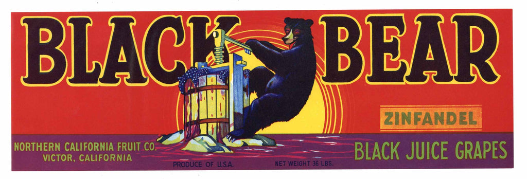 Black Bear Brand Vintage Zinfandel Grape Crate Label