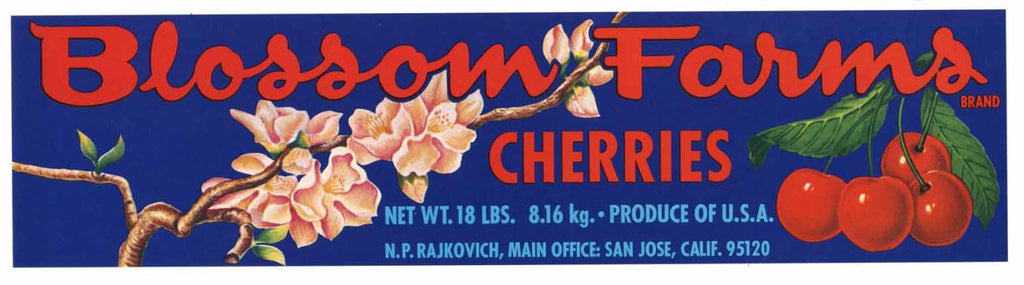 Blossom Farms Brand Vintage Santa Clara Valley Cherry Crate Label