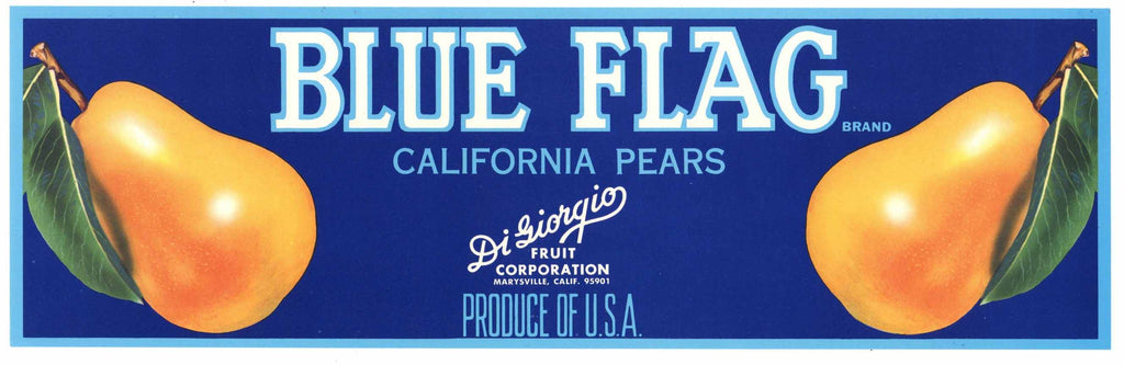 Blue Flag Brand Vintage Marysville Pear Crate Label, lug