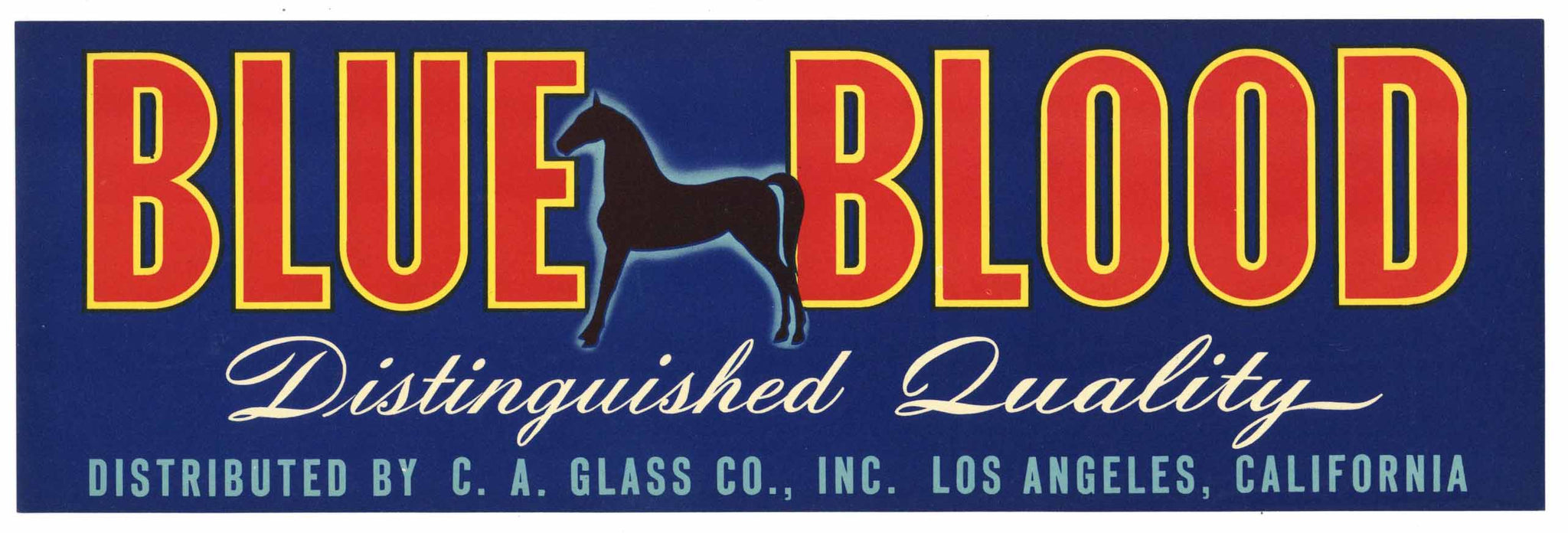 Blue Blood Brand Vintage Produce Crate Label