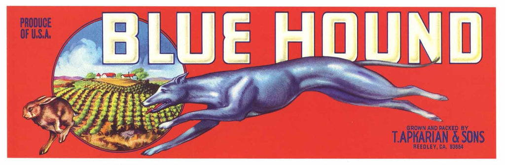 Blue Hound Brand Vintage Produce Crate Label, zipcode